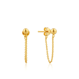 Goudkleurige Modern Chain Stud Earrings van Ania Haie