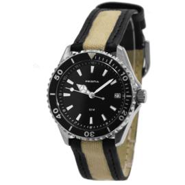 HappyTime Kids Horloge met Zwarte en Beige Horlogeband