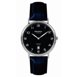 Prisma Zilverkleurig Signature Heren Horloge met donkerblauwe Band