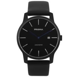 Prisma Zwart Heren Horloge met Zwarte Lederen Horlogeband