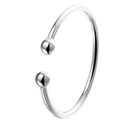 Slanke Gerhodineerd Zilveren Ring met Bolletjes Uiteinden