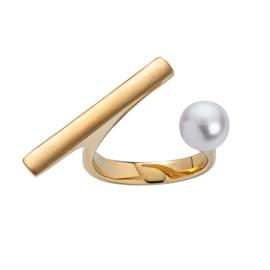 Goudkleurige Ring met Balkje en Zoetwaterparel van M&M