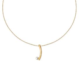 Goudkleurig Collier met Langwerpige Hanger en Zoetwaterparel van M&M