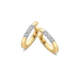 Excellent Jewelry Slanke Geelgouden Creolen met 3 Briljanten