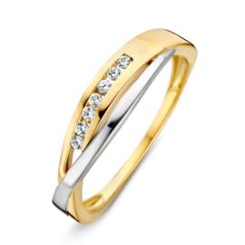 Excellent Jewelry Geelgouden Ring met Witgoud en Zirkonia's