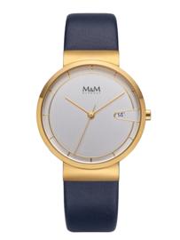 Goudkleurig M&M Unisex Horloge met Blauw Lederen Horlogeband