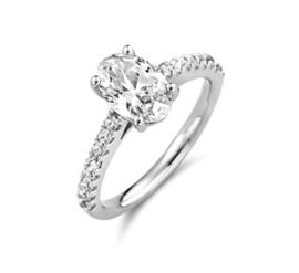 Ovale Zirkonia Dames Ring Zilver