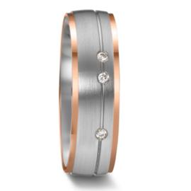 Matte Zilveren Dames Trouwring met Roségouden Randen en Drie Diamanten