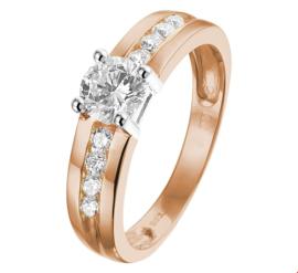 Brede Bicolor Gouden Ring met Zirkonia's