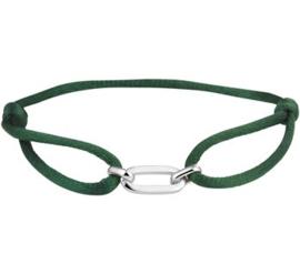 Groen Gevlochten Armband met Zilveren Elementen