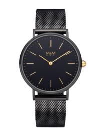 Zwart M&M Horloge voor Dames met Goudkleurige Wijzers