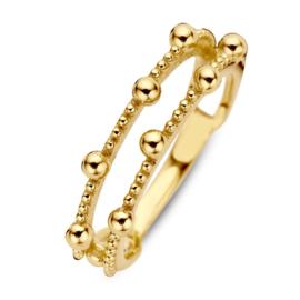Excellent Jewelry Geelgouden Ring met Twee Stroken en Meerdere Bolletjes