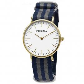 Prisma Horloge Unisex Edelstaal Goud - Blauw/Grijs 1620.25WG