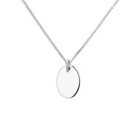 Zilveren Gourmet Collier met een Ovaalvormige Graveer Hanger | Initiaal