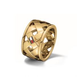 Goudkleurige Gevlochten Dames Ring van Tommy Hilfiger TJ2701024C
