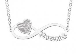 Names4ever Zilveren Infinity Hanger met Hart en Vingerafdruk