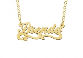 Names4ever Brenda Stijl Gouden Naamketting voor Kids GNK39
