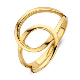 Excellent Jewelry Abstracte Geelgouden Ring met Twee Lussen