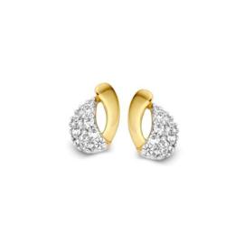 Excellent Jewelry Geelgouden Opengewerkte Oorstekers met Zirkonia's