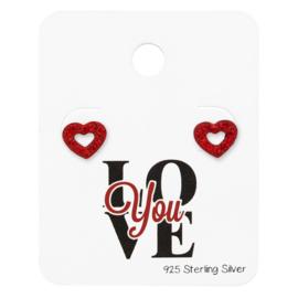Zilveren Hartjes Oorstekers met Rode Zirkonia's Steentjes | Love You