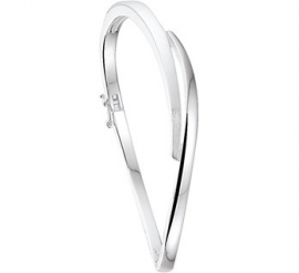 Gepolijst met Matte Zilveren Scharnier Bangle armband