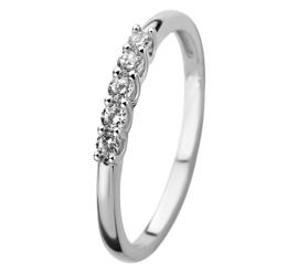 Witgouden Zirkonia Rij Ring voor Dames