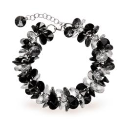 Frou Frou Zwart met Witte Swarovski Armband van Spark Jewelry