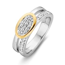 Excellent Jewelry Zilveren Ring met Geelgouden Zirkonia Ovaal