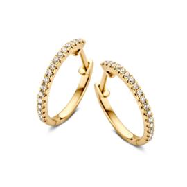 Excellent Jewelry Gouden Oorringen met Schitterende Diamanten