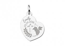 Names4ever Zilveren Communie Hart Hanger met Kruis