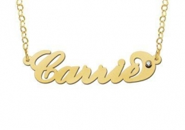 Names4ever Vergulde Carrie Naamketting met Zirkonia