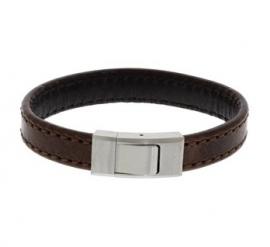 Donkerbruin Lederen Armband met Edelstalen Sluiting - Graveer Sieraad