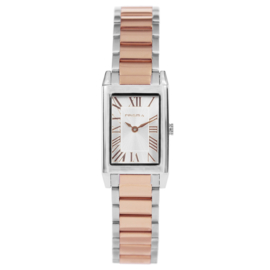 Klassiek Rechthoekig Zilverkleurig met Roségoudkleurig Dames Horloge van Prisma