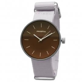 Prisma Horloge Unisex Simpel Bruin Nato P.1247.34WG