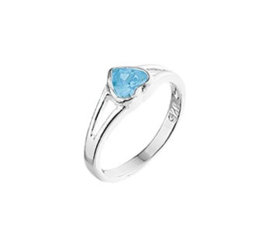 Zilveren Ring voor Kinderen met Blauw Hartje / Ringmaat 15,5