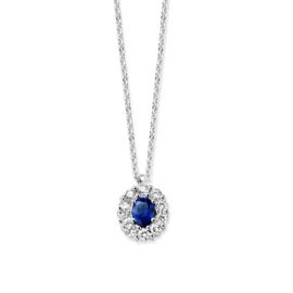 Excellent Jewelry Stevig Witgouden Collier met Saffier en Briljant Hanger