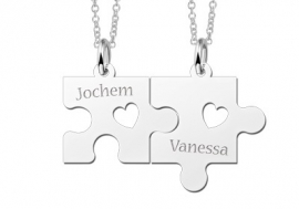 Zilveren Kettingen + Puzzelstukjes met Namen Names4ever