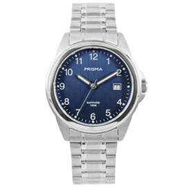 Zilverkleurig Heren Horloge met Blauwe Wijzerplaat en Witte Cijfers
