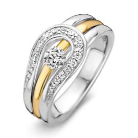 Excellent Jewelry Witgouden Lus Ring met Zirkonia's en Geelgouden Strook