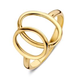 Excellent Jewelry Geelgouden Ring met Opengewerkte Ovalen