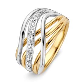 Excellent Jewelry Bicolor Golvende Stroken Ring met Diamanten