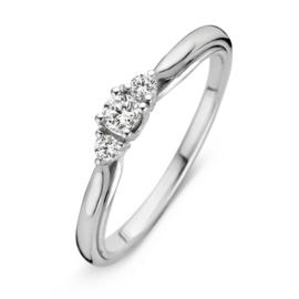 Excellent Jewelry Bolstaande Ring van Witgoud met 0,19 crt. Briljant