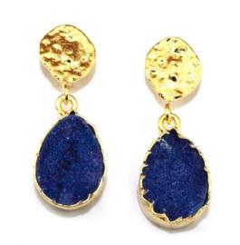 Oorhangers met Blauwe Geode Druzy Edelsteen van Sujasa