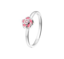 Zilveren Ring voor Kinderen met Sierlijke Roze Bloem en Zirkonia