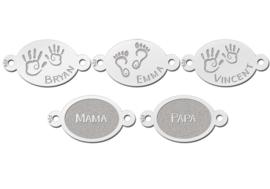 Familie Naamarmband van Zilver met Ovale Plaatjes > Names4ever