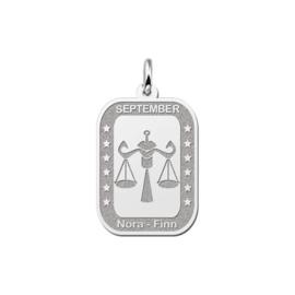 Rechthoekige Weegschaal Sterrenbeeld Hanger van Zilver