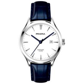 Prisma Zilverkleurig Balm Heren Horloge en Blauwe Horlogeband