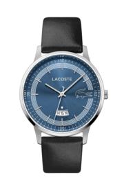 Lacoste Zilverkleurig Madrid Heren Horloge met Zwart Lederen Horlogeband