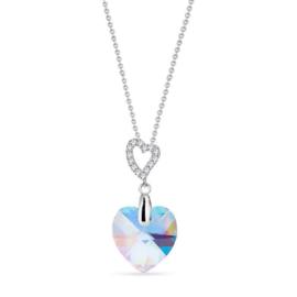 Spark Amore Zilveren Ketting met Aquamarijn Glaskristal
