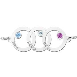 Names4ever Driedubbele Cirkel Zilveren Moeder en Dochter Geboortesteen Graveer Armband